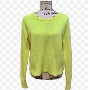 J CREW Cropped Bright Yellow Wool Sweater Sz L